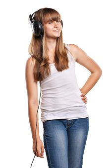 Free Lovely Girl Listening A Music In Headphones Royalty Free Stock Image - 20668246