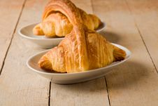 Croissants On Wooden Table Royalty Free Stock Images