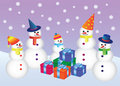 Free Five Snowmen With Presents Royalty Free Stock Photo - 20672125