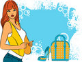 Free Girl With Cartoon Woman S Bag And Shoes Royalty Free Stock Photos - 20673488