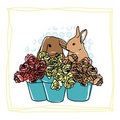 Free Easter Card With Rabbits Royalty Free Stock Images - 20679139