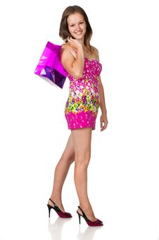 Free Girl With Shopping Bag Royalty Free Stock Photo - 20670645