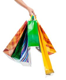 Free Female Hand Holding Shopping Bags Stock Image - 20670651
