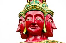 Red Brahma Face Of Budha Image Royalty Free Stock Photography