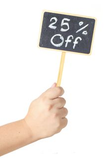 Free Hand Raising A Blackboard Display 50 Percent Sign Stock Photography - 20672082