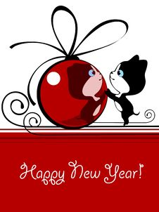 Free Kitten With New Year S Bal Stock Photo - 20672120