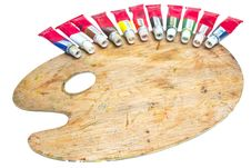 Free Palette With Oil Paint And Brushes Royalty Free Stock Images - 20672579