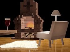 Free Modern Living Room With A Fireplace Royalty Free Stock Photo - 20672835