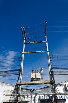 Free Electricity Post With Blue Sky Stock Images - 20673214