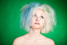 Free Crazy Girl With Multicolor Hair In Tulle Royalty Free Stock Image - 20673316