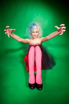 Free Multicolor Shot Of Funny Girl Over Green Royalty Free Stock Photography - 20673347