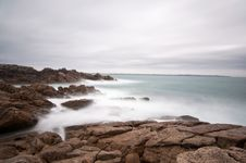 Seascape Long Exposure On Brittany Coast Stock Photography