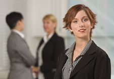 Free Pretty Businesswoman With Colleagues Behind Royalty Free Stock Image - 20676736