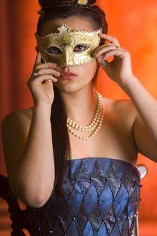 Young Teen Woman At Masquerade Ball Royalty Free Stock Images