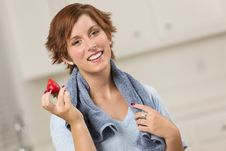 Free Pretty Red Haired Woman Holding Strawberry Stock Photo - 20676770