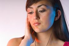 Teen Woman Listening To Music On White Stock Images