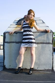Free Red Head Teen Model On Roof Stock Photo - 20677120