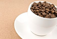 Close Coffee Cup Filled With Coffee Beans Stock Image