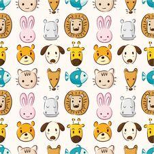 Free Cartoon Animal Head Seamless Pattern Royalty Free Stock Image - 20678596