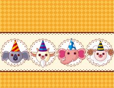 Free Cartoon Party Animal Head Card Stock Photo - 20678600