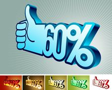 Symbol Of Discount Or Bonus On Stylized Hand 60 Royalty Free Stock Images