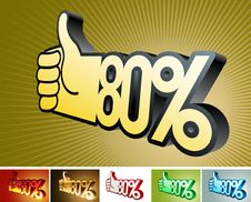 Symbol Of Discount Or Bonus On Stylized Hand 80 Royalty Free Stock Photo
