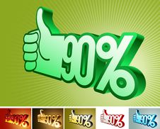 Symbol Of Discount Or Bonus On Stylized Hand 90 Royalty Free Stock Image