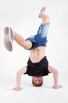 Free Teen B-boy Spinning On His Head Royalty Free Stock Images - 20680259