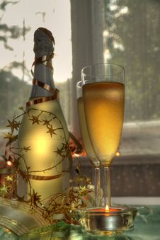 Free Champagne In Glasses And Bottle Stock Photos - 20681153