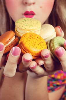 Free Girl Loves Colorful Macaroons Stock Image - 20681511