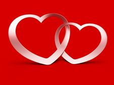 Free Two Jointed Hearts On Red Stock Photo - 20681680