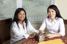 Two Asian Women Drinking Tea Stock Photos