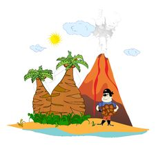 Free Island With A Volcano And A Pirate Royalty Free Stock Image - 20683056