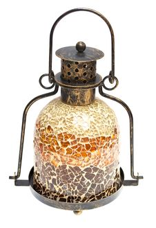Vintage Metal Lamp Of A Mosaic Of A White Royalty Free Stock Photo