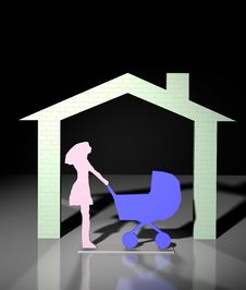 Free Home And Women With Buggy Stock Photography - 20684102