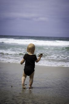 Toddler Playing At The Beach Stock Images