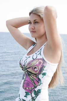 Free Beautiful Young Woman Posing Near Sea Royalty Free Stock Image - 20685366