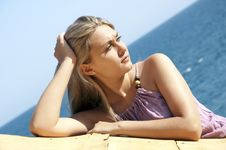 Free Beautiful Young Woman Posing Near Sea Royalty Free Stock Photo - 20685375