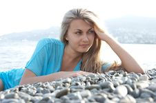 Free Beautiful Young Woman Posing On Stones Near Sea Stock Photo - 20685380