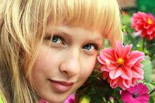 Free Attractive Girl Face With Flowers Stock Photography - 20686432