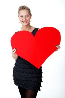 Free Young Lady Shows A Big, Red Heart Royalty Free Stock Image - 20686446