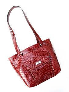 Free Red Crocodile Textured Leather Shoulder Handbag Royalty Free Stock Image - 20687216
