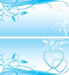 Free Two Floral Backgrounds For Banner Royalty Free Stock Photography - 20687537