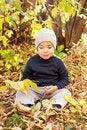 Free Boy Walking In Autumnal Park Stock Photos - 20691563