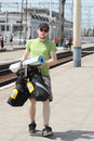 Free Bicycle Tourist With Backpack Walking Stock Image - 20696921