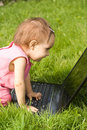 Free Little Girl With Laptop Stock Photography - 20698822