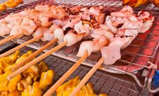Free Grilled Squids On Grill Royalty Free Stock Photos - 20690448