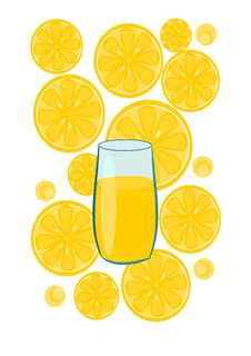 Free Glass With Lemon Juice - Vector Royalty Free Stock Photo - 20690685
