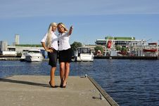 Free Two Girls Blonde Stand On The Pier Stock Photo - 20691130