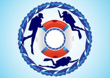 Free Lifebuoy And Scuba Divers Royalty Free Stock Images - 20692939